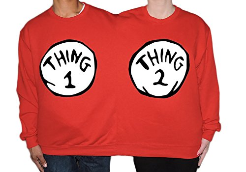 Thing 1 And Thing 2 Couples Costumes (Thing 1 Thing 2 Couples Two Person Halloween Sweater)
