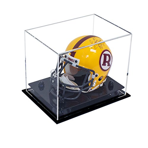 Better Display Cases Mini Football Helmet Display Case (not Full Size) Clear Acrylic Plexiglass with Black Risers (A003-BR)
