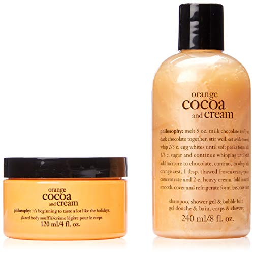 Philosophy Shower Gel Moisturizing - Philosophy Orange Cocoa and Cream Duo, Shampoo/Shower Gel/Bubble Bath, Glazed Body Cream, 4oz/8oz