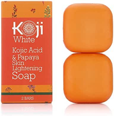 Kojic Acid & Papaya Skin Lightening Soap with Hyaluronic Acid - For Dark Spot, Hyperpigmentation, Discoloration, Acne Scars, Uneven Skin Tone (2.82 oz / 2 Bars)
