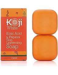 Kojic Acid & Papaya Skin Lightening Soap with Hyaluronic Acid - For Dark Spot, Hyperpigmentation, Discoloration, Acne Scars, Uneven Skin Tone (2.82 oz / 2 Bars)