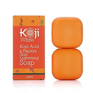 Koji White Kojic Acid & Papaya Skin Brightening Soap (2.82 oz / 2 Bars) - with Hyaluronic Acid for Smooth Face & Body, Dark Spot Elimination for Freckles, Acne Scars, Uneven Skin Tone (Not Suitable for Sensitive Skin)
