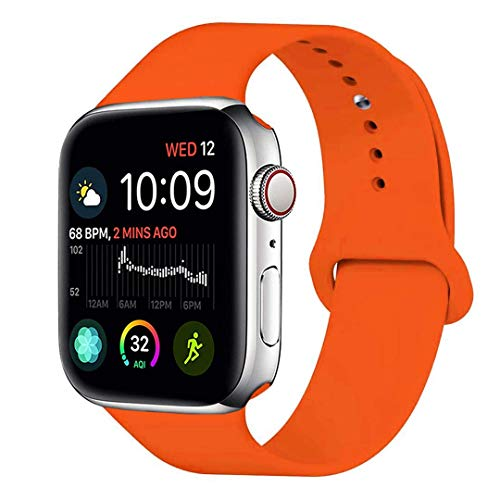SHJD Watch Band 38MM 42MM 40MM 44MM,Soft Silicone Sport Strap Replacement Band Compatible with iWatch Series 1/2/3/4 S/M M/L(Orange, 42mm/44mm M/L)
