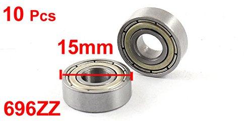 10Pcs 6mm x 15mm x 5mm 696ZZ Radial Shielded Deep Groove Ball Bearing