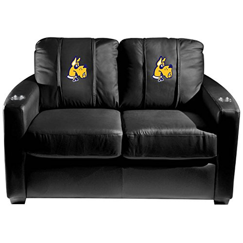 XZipit College Silver Loveseat with Albany University Great Dane Logo Panel, Black