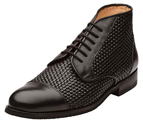 Dapper Shoes Co. Men's Classic Handcrafted Woven Leather Cap Toe Oxford Boot Black