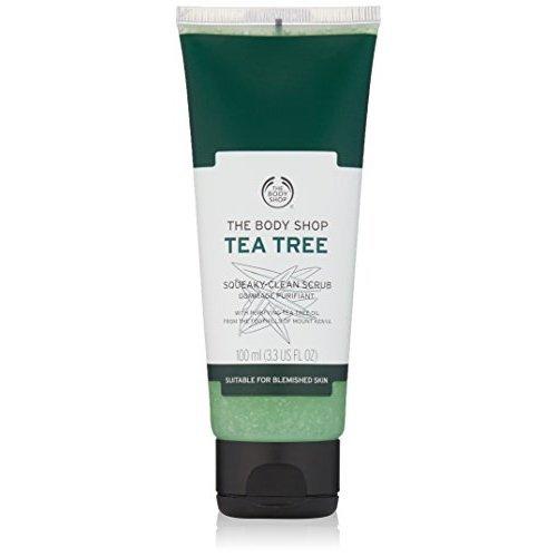 The Body Shop Tea Tree Squeaky-Clean Exfoliating Face Scrub, 3.3 Fl Oz (Vegan)