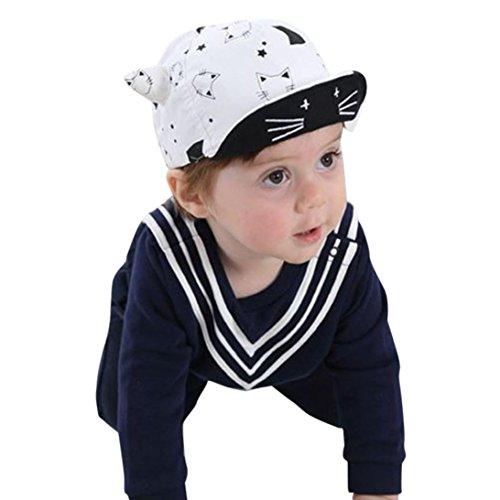 Elevin(TM) Toddler Hat Baby Boy Girl Kid Newborn Winter Warm Baseball Cap Beanie (B White)