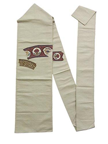 おめでとう汗ギャップリサイクル 名古屋帯 じゅらく 手織り 紬 八寸 花鳥文 正絹