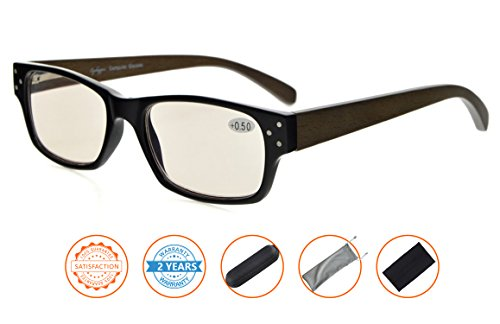 UV Protection,Anti Blue Rays,Reduce Eyestrain,Wood Arms,Computer Reading Glasses(Black,Amber Tinted Lenses) without - Prescription 0 Glasses