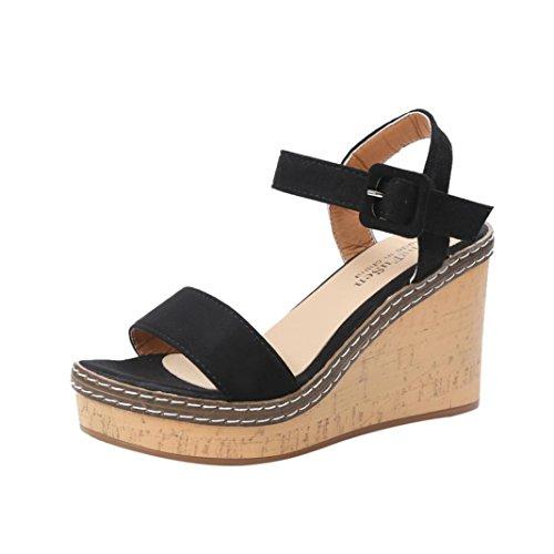 Oyedens Femmes Ete Toe À D'été De Noir Chaussures Fond Orteil Bohême Ouvert Talons Été Sandales Épais Platform Femme fO4Swqcfr