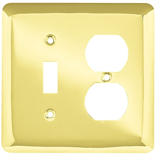 Polished Toggle (Franklin Brass W10253-PB-C Stamped Round Single Toggle Switch & Duplex Wall Plate/Switch Plate/Cover, Polished Brass)