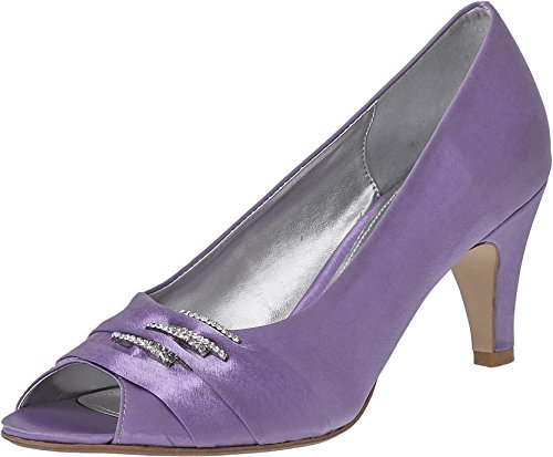LEXUS Womens Peep Toe Shoes Medium Heel Wedding Bridal Bridesmaid Party Prom Satin Shoe With Diamante Design Lilac IwLSSqM