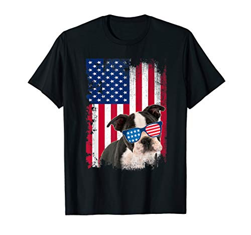 - Vintage Boston Terrier Dog Shirt American Flag Distressed