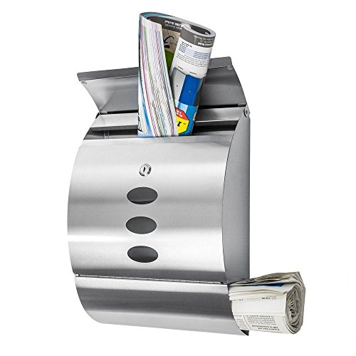 Wall Mount Mail Box With Retrieval Door & Newspaper Roll & 2 Keys Stainless - Open Airport Dallas