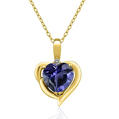 (Gem Stone King 1.27 Ct Blue Iolite White Diamond 18K Yellow Gold Plated Silver Pendant)