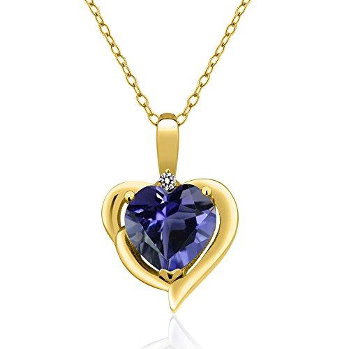 Gem Stone King 1.27 Ct Blue Iolite White Diamond 18K Yellow Gold Plated Silver Pendant