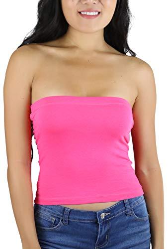 ToBeInStyle Women's Cotton-Spandex Blend Stretchy Tube Top - Fuchsia - Small