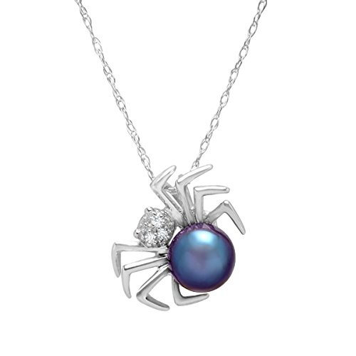 6 mm Freshwater Black Cultured Pearl Spider Pendant Necklace with Diamonds in 14K White Gold (Black White Spider)