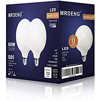 LED Light Bulbs 60 Watt Replacement, G30/G95 6W LED Bulb, E26 Socket,MRDENG Warm White Globe Light Bulb (2700K) Pack of 2