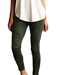 YACUN Women Moto Biker Skinny Ankle Pleated Stretchy Pencil Pants