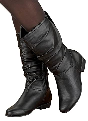 Scrunch Boots, Color Black, Size 7-1/2 (Wide), Black, Size 7-1/2 (Wide) - Leather Scrunch Boot