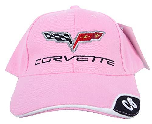 A&E Designs Chevy Corvette C6 Deluxe Fine Embroidered Vette Hat Cap, Pink