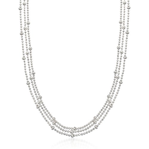 Ross-Simons Italian Sterling Silver Three-Strand Bead Chain Necklace by Ross-Simons