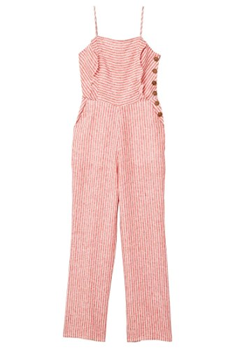 MANGO Women's Linen-Blend Striped Jumpsuit, Red, (Striped Linen Blend Pants)