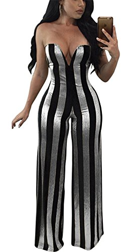 Metallic Stripe Pants - Speedle Womens Sexy Strapless Metallic Stripe Wide Leg Long Pants Club Jumpsuits Rompers Silver S