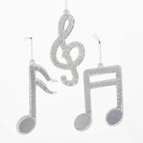 Kurt S. Adler Silver Mirror Musical Note Ornament 3/Assorted (Music Christmas Ornaments Notes)