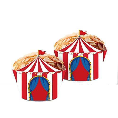 CC HOME 20CT Carnival Circus Tent Cupcake Wrappers,Red & White Striped Cup Cake Wrap,Carnival Circus Party Decorations ,Party Favor for Boys ,Girls ,Kids ,Carnival Circus Theme Birthday Party ,Baby Shower ,Wedding Decorations]()