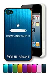 Engraved Aluminum iPhone 4/4S Case/Cover - TEXAS COME AND TAKE IT FLAG - Personalized for FREE (Click the CONTACT SELLER button after purchase and send a message with your case color and engraving request)