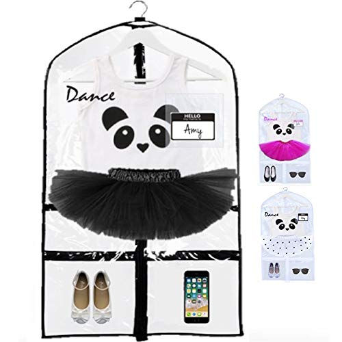 - KEHO Clear Kids Garment Bag with 4 Pockets For Dance Competitions and Costumes | (Clear/Black)