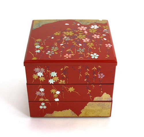 Japanese Red Lacquer Three Tiers Sakura Jyubako Stack Candy Bento ()