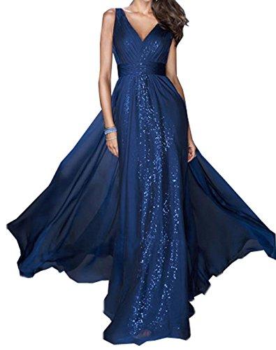 Paillettes Donna Vestiti V a Eleganti Abito Maxi Festa Banchetto Sera Senza da Vestito Sottile Collo Blu Sexy da Abiti Partito Cerimonia Tulle Tunica Maniche Lunga IrIg8Pxqw