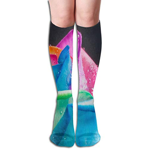 Socks Rainbow Roses and Water Drops Unique Womens Stocking Party Sock Clearance for Girls