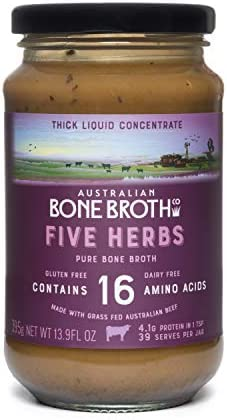 Australian Beef Bone Broth Concentrated -Five Herbs- Italian Herb + Beef Collagen Peptides-Gluten Free Super healthy nutrient dense - Great for cooking or beverage drink. Made in Australia 375 grams jar