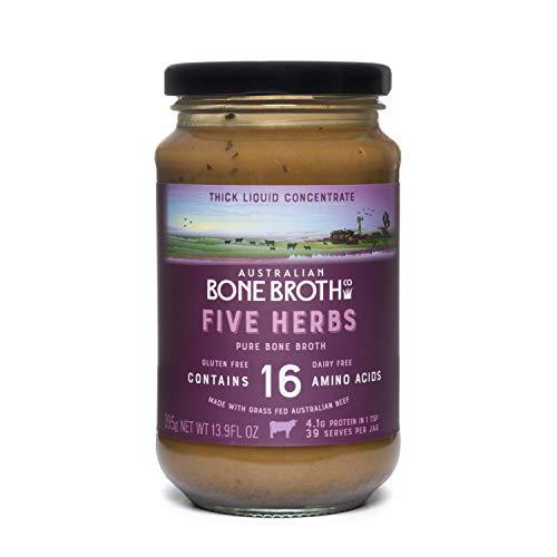 5 Herb Beef Bone Broth Concentrate - New 13 fl oz Jar (375 grams) - Premium beef bone broth+ Italian Herbs + Collagen Peptides - Great Bone Broth Beverage Made in Australia