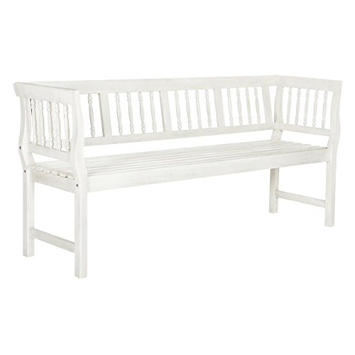 (Safavieh PAT6732C Outdoor Collection Brentwood Bench, Antique White)