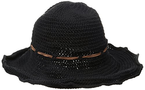 ale by Alessandra Women's Nikki Retro Crochet Floppy Hat With Leather Trim, Black, One Size by ale by Alessandra