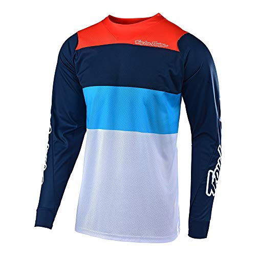 Cycle Designs - Troy Lee Designs Men's Off-Road Motocross Motorcycle SE Air Beta Jersey (White/Navy, X-Large)