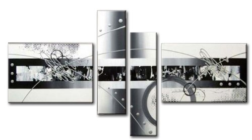 Wieco Art White Black Lines Point Extra Large Modern Framed 4 Panels Abstract 100% Hand Painted Oil Paintings on Canvas Wall Art Ready to Hang for Living Room Home Office Decorations XL