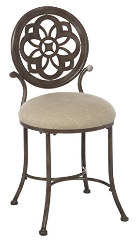 50981 Marsala Vanity Stool, Gray with Brown highlighting with Cream Fabric ()