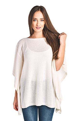 Mariyaab Women's 100% Cashmere Soft Wide Neck Wrap Poncho Sweater(150985, Cream, L/XL)