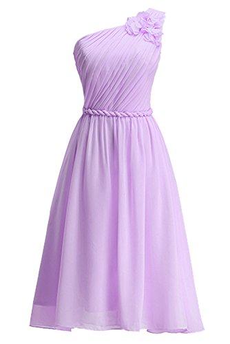 Ein Knielang Brautjungkleid Schulter Geblümtes Tochter Lavendel Abendkleid Blumenmkleid Mutter A Linie KekeHouse® Partykleid OaZqCqd