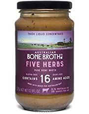 Five Herb Beef Bone Concentrate- Premium Bone Broth + Italian Herbs + Beef Collagen Peptides - Improve your well-being, joint + bone health. New 395 Gram Jar Made in Australia