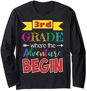 Third 3rd Grade Where the Adventure Begins  Teachers Long Sleeve T-shirt | Size S - 5XL
