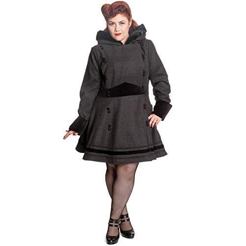 Hell Vintage 1940s Grigio Bunny Sofia Invernale Retrò Cappuccio 1950s Con Cappotto Sintetico Lana wNv0mO8n
