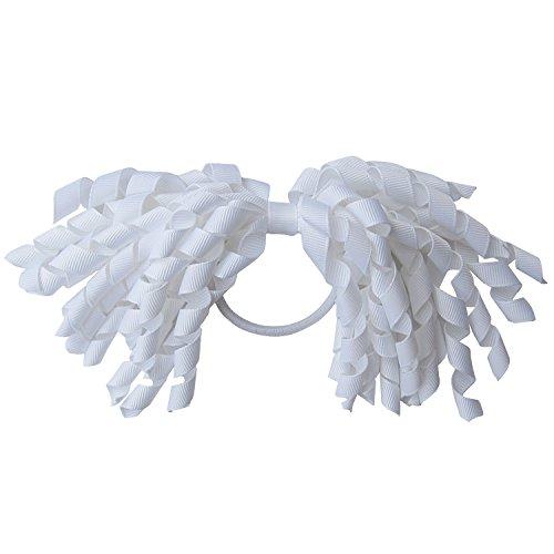 Korker (Corker) Grosgrain Ribbon Bow Elastic Pony Holder (White)